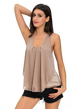 Women Tops and Blouses Round Neck Sleeveless Khaki Chiffon Ruffle Front Tank Top