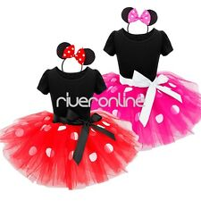Baby Kids Polka Dots Minnie Mouse Dress Outfit Party Ballet Costume Tutu Skirt
