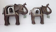 Large elephant ornament Indian metal with bell handpainted Fair Trade medium