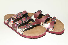 Papillio by Birkenstock BF FLORIDA $149rrp Painted Bloom Red SOFT FOOTBED BNIB