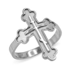 Solid 10k White Gold Russian Orthodox Cross Ring