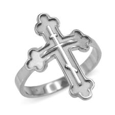 Solid 14k White Gold Russian Orthodox Cross Ring