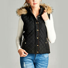 Fashionazzle Women's Hooded Lightweight Suede Contrast Quilted Zip Up Vest