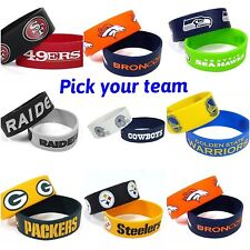 NFL, NBA,NHL Team Rubber Silicone Wristband 2-PACK-Pick Your Team