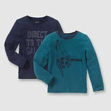 Boys Pack Of 2 Long-Sleeved T-Shirts, 3-12 Years