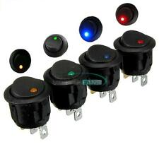 12V Round Rocker Led ILLUMINATED ON/OFF Dot Switch For Car VAN Dash Boat Light