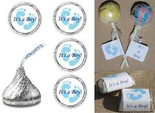 ITS A BOY BLUE FOOTPRINTS THEME BABY SHOWER PARTY LABELS WRAPPERS CANDY FAVORS