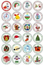 24,48,72 PRE-CUT EDIBLE WAFER CUP CAKE TOPPERS CHRISTMAS SANTA SNOWMAN BELL TREE