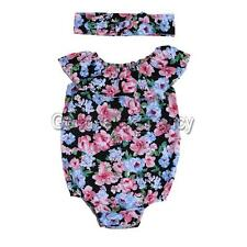 Baby Girls Floral Romper+Headband Set Newborn 2PCS Clothes Toddlers Suit Summer