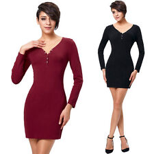 Womens Ladies Mini Length Front Button Bodycon Long Sleeves Evening Dress Blouse