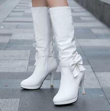 Womens lady knee high boots shoes stiletto heels size bowknot pumps high top