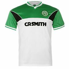 Celtic FC 1985 Away Jersey Score Draw Mens White/Green Retro Football Soccer Top