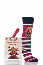 Ladies 1 Pair Totes Original Christmas Novelty Reindeer Stripe Slipper Socks wit