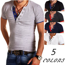 Men T-Shirt Button Front Short Sleeve V-Neck Solid Casual Slim Fit T-shirts h