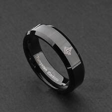6mm Tungsten Carbide Black Freemason Masonic Unisex Wedding Band Ring