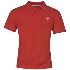 Dunlop Check Golf Polo Shirt Mens Red Collared T-Shirt Top