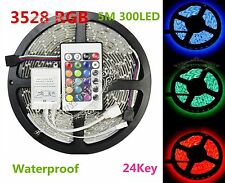 5Meter SMD 3528 RGB IP65 Waterproof LED Light Strip 300 LED+24 Key IR Remote