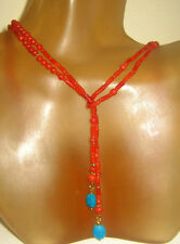 """Italian Coral Bead Lariat Necklace Solid 14KT Gold & Turquoise Accents, 38"""""""