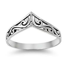 925 Sterling Silver Filigree Chevron V Shaped All Sizes Available Size 8 Ring