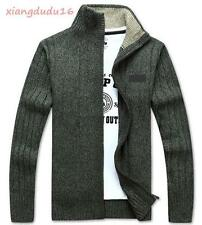 Stylish Mens Knitted Cardigan Leisure Stand collar Warm Thick Zip Casual Sweater
