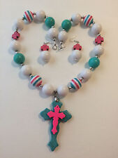 Howlite Turquoise Hot Pink White and Silver Tone Chunky Bubblegum Necklace Cross