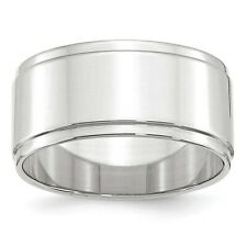 14k White Gold Lightweight Flat Wedding Bands Step Down Edge Mens Womens Rings