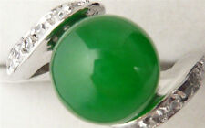 18KGP White Gold Plated Green Jade Women Ring AAA Size #7 #8 #9