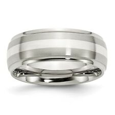 Chisel 8mm Stainless Steel Ridged Edge Band & Silver Inlay Size 8 to 14