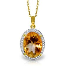Natural Citrine Oval Gem & Diamonds Halo Design Pendant Necklace 14K. Solid Gold