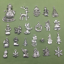 Lot Tibet Silver Christmas Santa Claus Snowman Charm Pendant Jewelry Finding Hot
