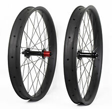 65mm Carbon Fat Bike Wheel Clincher Thru Axle UD Matt MTB Disc Beadless Rim 26er