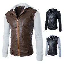 New Mens Modern Slim Fit Zipper Leather Motorcycle Jacket Cotton Cap Causal Coat