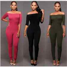 Sexy Jumpsuit Slash Neck Long Sleeve Bardot Neckline Bodysuit Women 2016 Overall