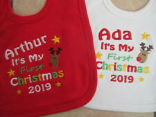 Personalised First Christmas Baby Bib - Embroidered  Gift - Reindeer - ANY NAME