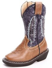 NEW SMOKY MOUNTAIN AUSTIN LIGHTS BLUE TAN WESTERN BOOTS KIDS YOUTH SIZE 11.5