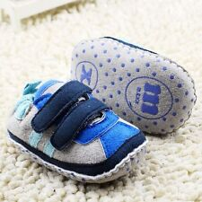Toddle infant Baby girl boy Blue soft sole crib shoes Sneaker size 0-18 months