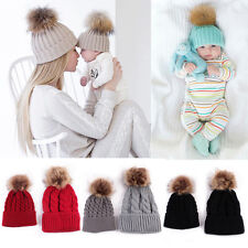 Mom&Newborn Baby Boys Girls Winter Warm Faux Fur Pom Bobble Knit Beanie Hat Cap