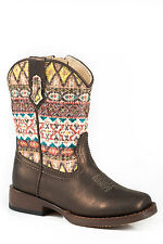 Roper Aztec Metallic Infant Brown Faux Leather Western Boots