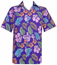 Hawaiian Shirt Mens Hibiscus Floral Leaf Print Beach Aloha Camp Party