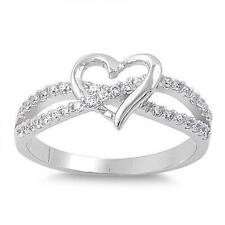 925 Sterling Silver Infinity Heart Clear CZ All sizes available Size 6 Ring
