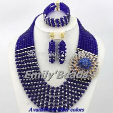 Nigerian Wedding African Beads Jewelry Set Costume Crystal Necklace earrings bra