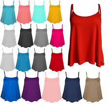 New Womens Plain Swing Vest Sleeveless Top Strappy Cami Ladies Size Flared CmiS