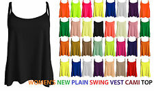 Womens New Plain Swing Vest Sleeveless Strappy Cami Top Plus Size Flared CmiS
