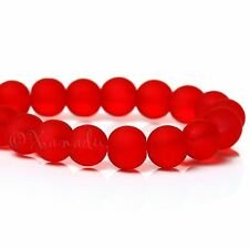Red Wholesale 6mm Round Frosted Glass Beads G4580 - 75, 150 Or 300PCs