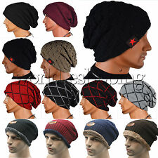 Unisex Winter Warm Wool Knit Ski Beanie Skull Slouchy Hat Casual Oversize Cap