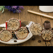 Fashionable Women And Men Quartz Watch Round PU Leather Band