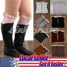 US LOCAL Women Winter Leg Warmers Lace Crochet Knit Boot Socks Toppers Cuffs