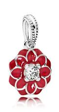 Authentic Pandora Silver #Oriental Bloom Red & Clear Dangle 791829CZ