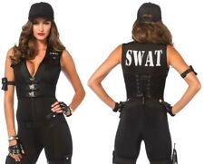 Ladies Police Cop SWAT Black Womens Costume Fancy Dress Party Uniform Outfit