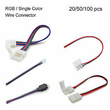 20/50/100 pcs Power Connector Adaptor 5050 10mm LED Strip RGB Wire Angle Extend
